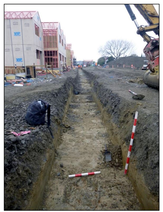 Underground Overground Archaeology monitored cutting and digging, including this trench running beside what will become Hoiho Lane. PHOTO: Underground Overground Archaeology