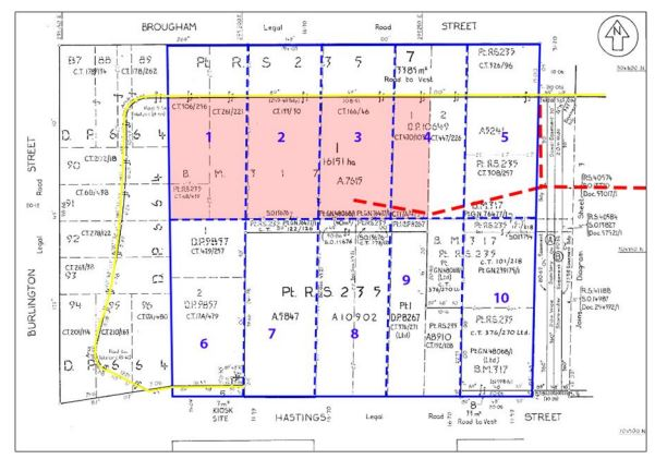 The Dunhams owned Lots 1 and 2. You'll see they were much further from Burlington St before the streets were widened. GRAPHIC: Underground Overground Archaeology