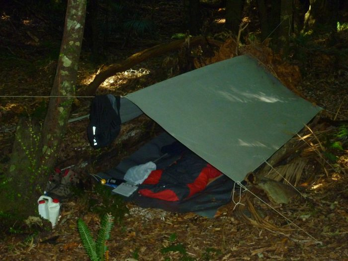 Keith's bivy for his three night stay in the bush.