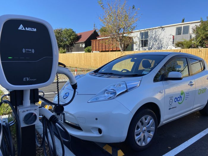 The eCars are charged for free on chargers, supported by Orion, on Karoro Lane.
