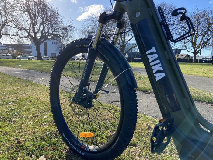 Taika the e-bike is ready for riders. The bike is based at the Locky Docks at Karoro Lane.