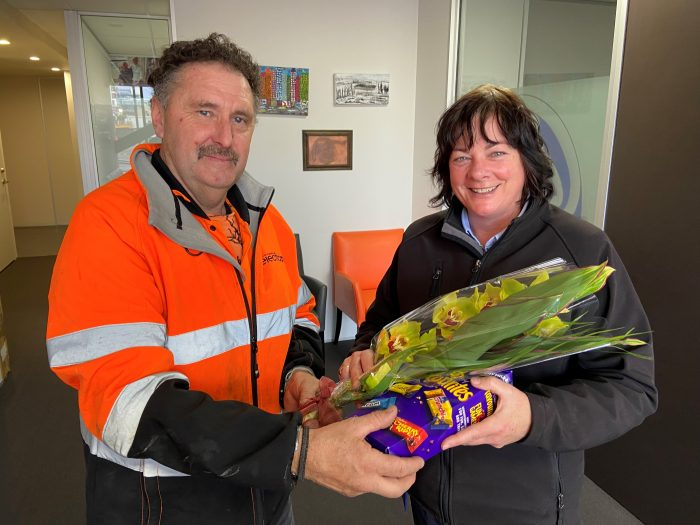 Josh is a Sparky electrician Anthony receives a thank you gift from Therese, on behalf of ŌCHT.